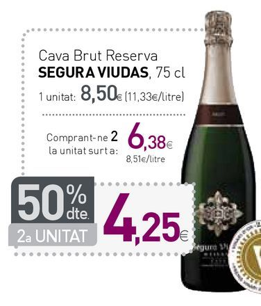 Oferta de Cava brut reserva Segura Viudas por 8,5€