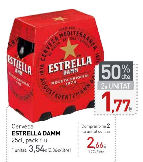 Oferta de Cerveza Estrella Damm por 3,54€