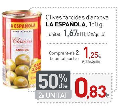 Oferta de Aceitunas rellenas de anchoa La Española por 1,67€