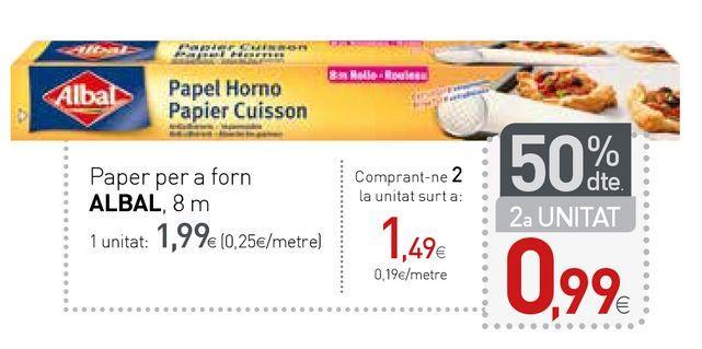 Oferta de Papel de horno Albal por 1,99€
