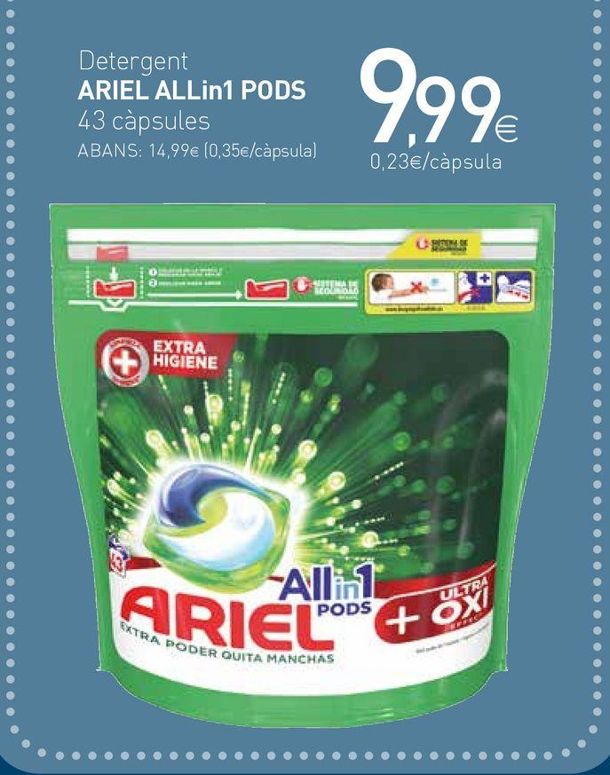 Oferta de Detergente en cápsulas Ariel por 9,99€