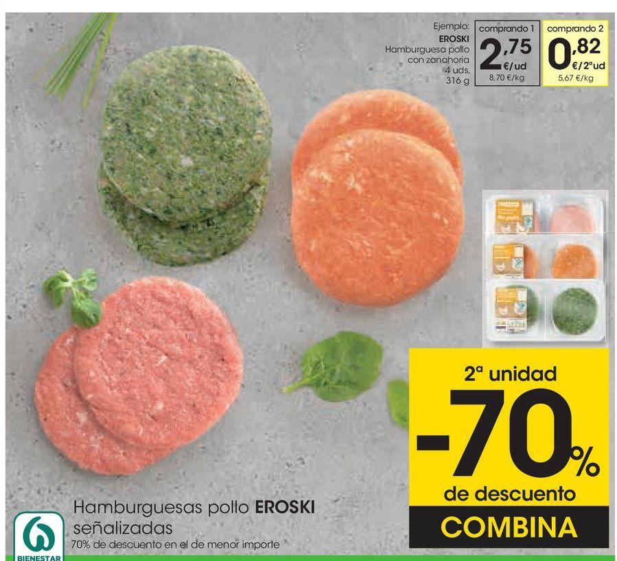 Oferta de EROSKI Hamburguesa pollo con zanahoria  por 2,75€