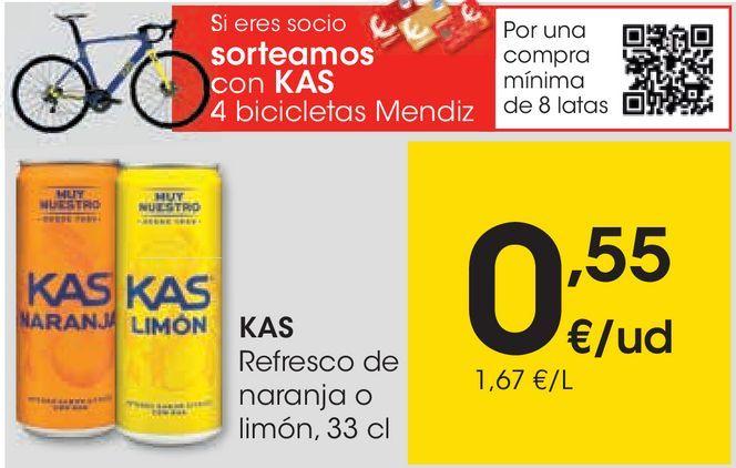 Oferta de KAS Refresco de naranja o limón  por 0,55€