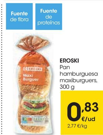 Oferta de EROSKI Pan hamburguesa maxiburgers  por 0,83€