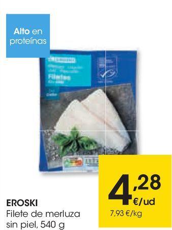Oferta de EROSKI Filete de merluza sin piel por 4,28€
