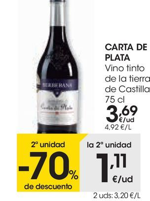 Oferta de CARTA DE PLATA Vino tinto de la Tierra de Castilla  por 3,69€