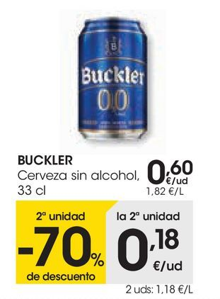 Oferta de BUCKLER Cerveza sin alcohol  por 0,6€