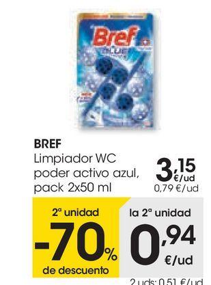 Oferta de BREF Limpiador wc poder activo azul  por 3,15€