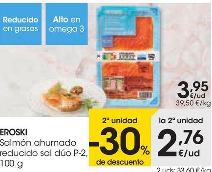 Oferta de EROSKI Salmón ahumado reducido sal dúo por 3,95€
