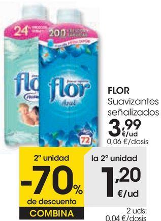 Oferta de Los suavizantes FLOR señalizados  por 3,99€