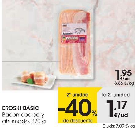Oferta de EROSKI BASIC Bacon cocido y ahumado  por 1,95€