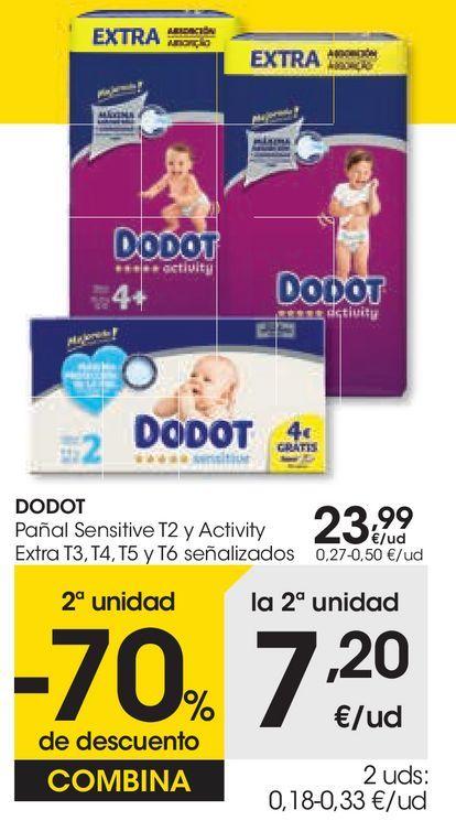 Oferta de DODOT Pañal Sensitive y Activity Extra señalizados por 23,99€