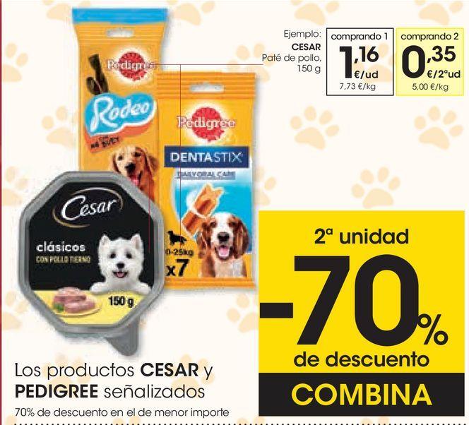 Oferta de Los productos CESAR y PEDRIGREE señalizados  por