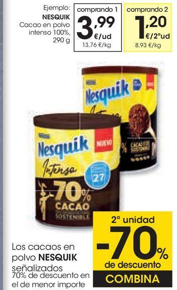 Oferta de NESQUIK Cacao en polvo intenso 100%  por 3,99€
