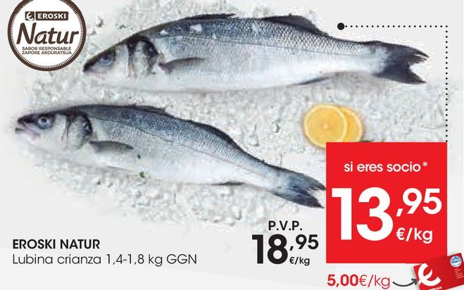 Oferta de EROSKI NATUR Lubina crianza por 18,95€