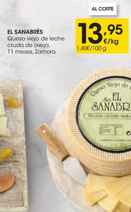 Oferta de EL SANABRÉS Queso viejo de leche cruda de oveja 11 meses, Zamora por 13,95€