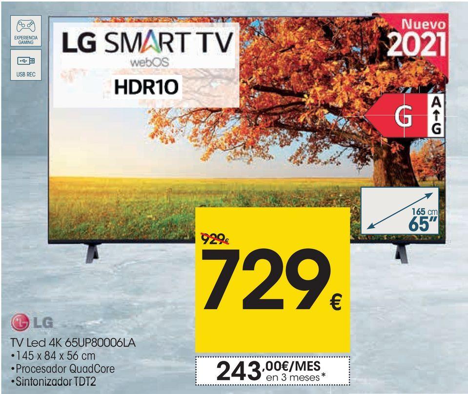 Oferta de LG Tv Led 4k 65UP80006LA  por 729€