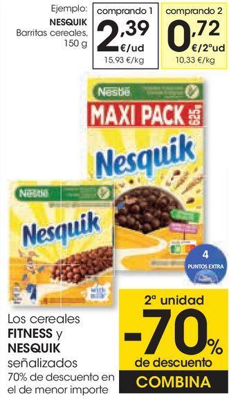 Oferta de Los cereales FITNESS y NESQUIK señalizados  por