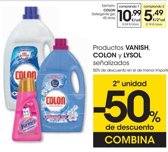 Oferta de Productos VANISH, COLON y LYSOL señalizados  por