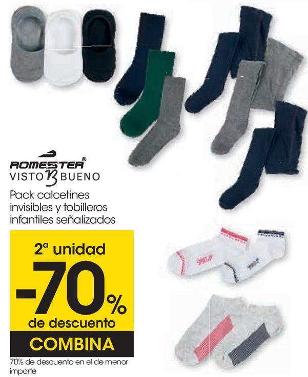 Oferta de ROMESTER Visto Bueno Pack calcetines invisibles y tobilleros infantiles señalizados  por