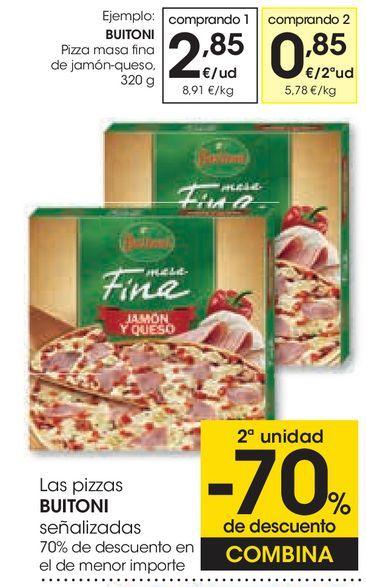 Oferta de BUITONI Pizza masa fina de jamón-queso por 2,85€