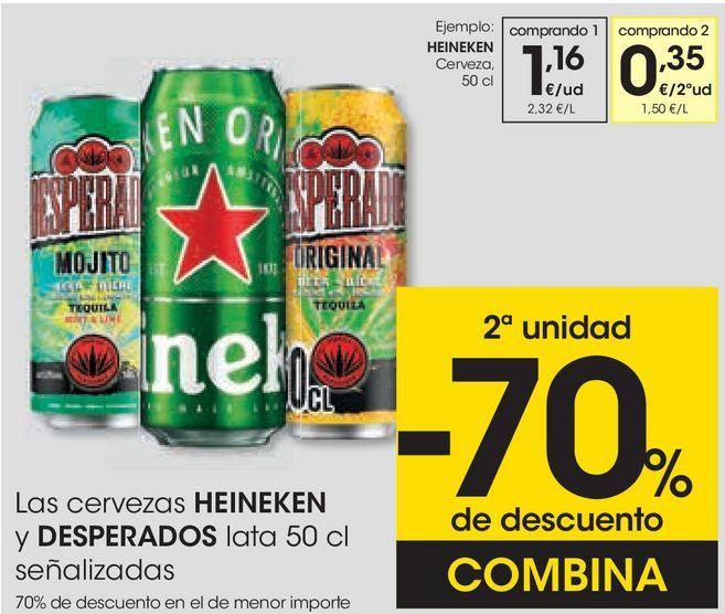 Oferta de Las cervezas HEINEKEN y DESPERADOS señalizados  por