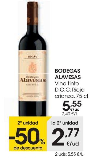 Oferta de BODEGAS ALAVSESAS Vino tinto D.O.C Rioja crianza  por 5,55€