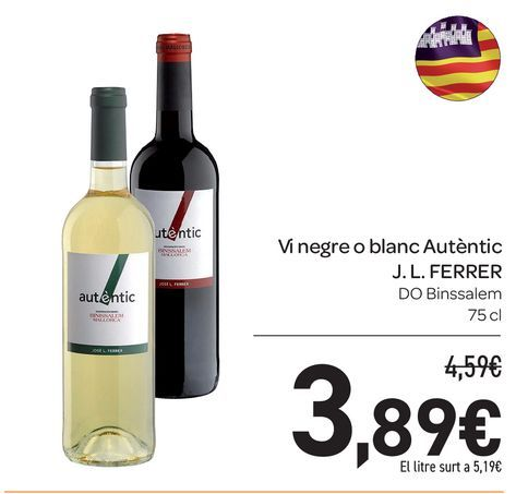 Oferta de Vi negre o blanc Autèntic J.L FERRER por 3,89€