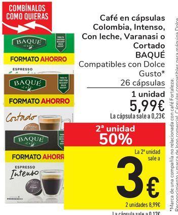 Oferta de Café en cápsulas Colombia, Intenso, Con leche, Varanasi o Cortado BAQUÉ por 5,99€