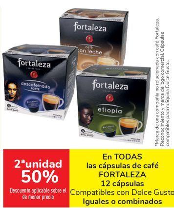 Oferta de En TODAS las cápsulas de café FORTALEZA Compatibles con Dolce Gusto por