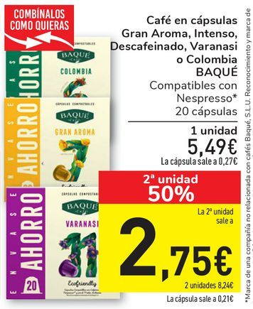 Oferta de Café en cápsulas Gran Aroma, Intenso, Descafeinado, Varanasi o Colombia BAQUÉ por 5,49€