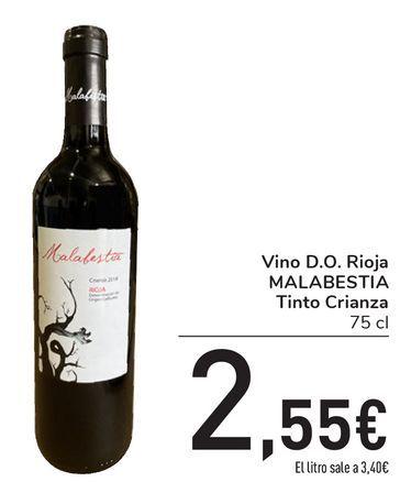 Oferta de Vino D.O. Rioja MALABESTIA Tinto Crianza por 2,55€