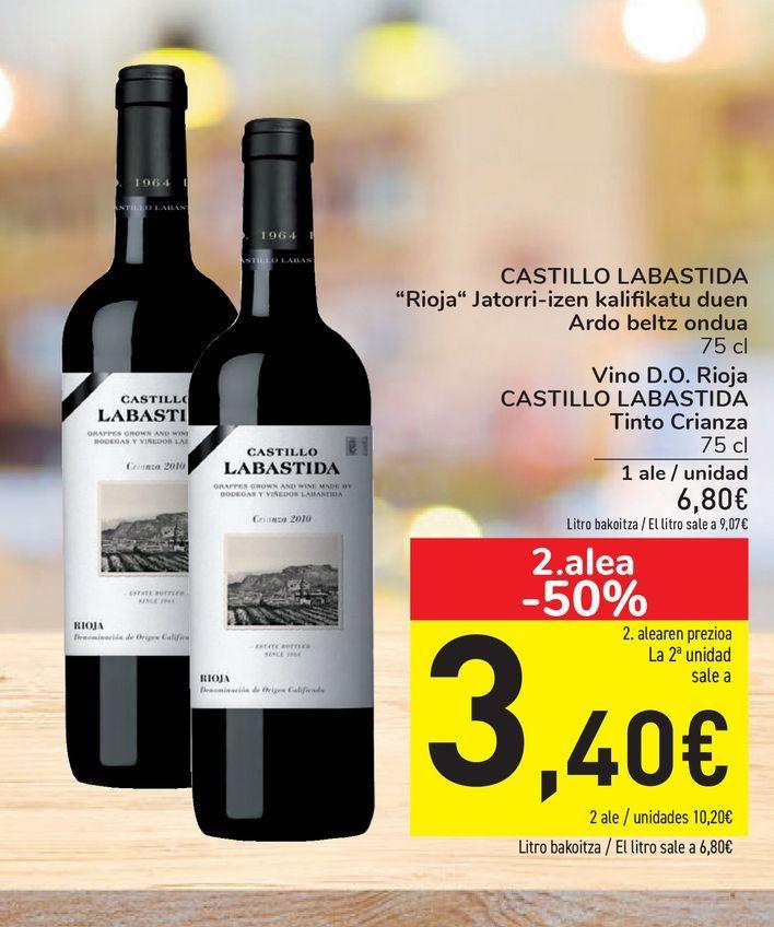 Oferta de Vino D.O. Rioja CASTILLO LABASTIDA Tinto Crianza por 6,8€