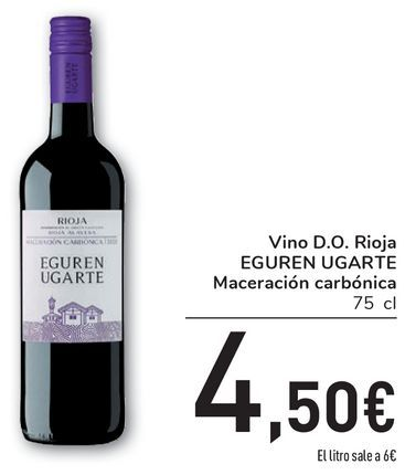 Oferta de Vino D.O. Rioja EGUREN UGARTE Maceración carbónica por 4,5€