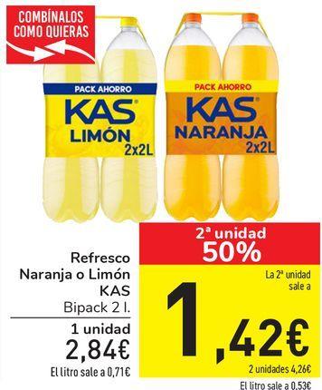 Oferta de Refresco Naranja o Limón KAS por 2,84€