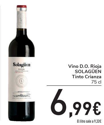 Oferta de Vino D.O. Rioja SOLAGÜEN Tinto Crianza por 6,99€