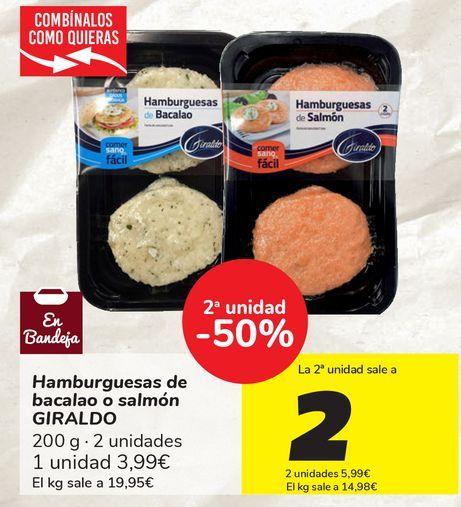Oferta de Hamburguesas de bacalao o salmón GIRALDO  por 3,99€