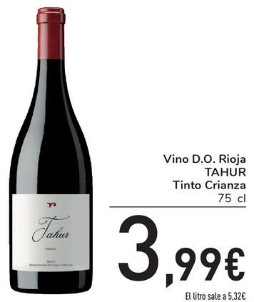 Oferta de Vino D.O. Rioja TAHUR Tinto Crianza por 3,99€