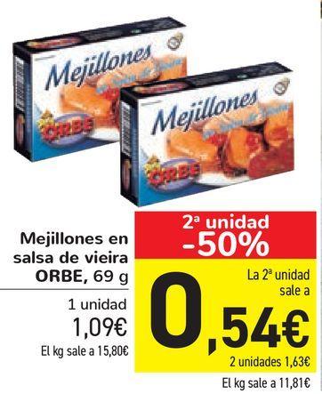 Oferta de Mejillones en salsa de vieira ORBE por 1,09€