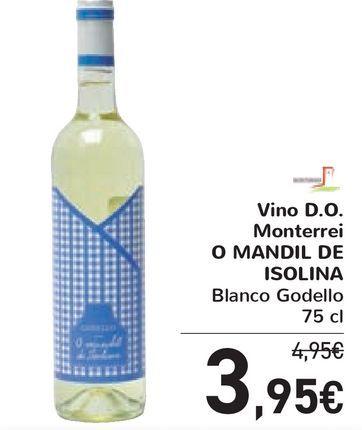 Oferta de Vino D.O. Monterrei O MANDIL DE ISOLINA Blanco Godello por 3,95€