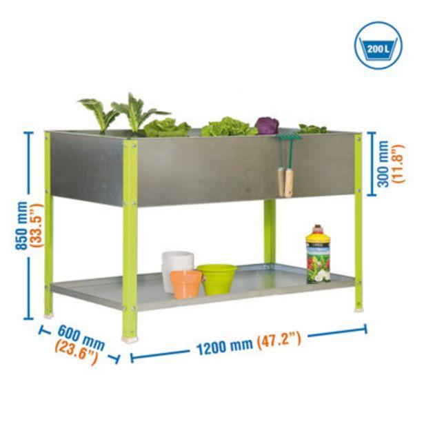 Oferta de Huerto urbano metálico verde 200L 120x85x60 cm por 95,9€