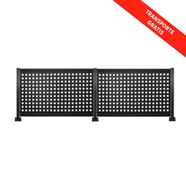 Oferta de Kit valla de acero galvanizado CUADROS NEGRO 306x100x13 cm por 249€