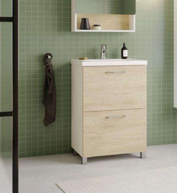 Oferta de Conjunto de mueble de baño HAPPY ROBLE 60CM por 129€