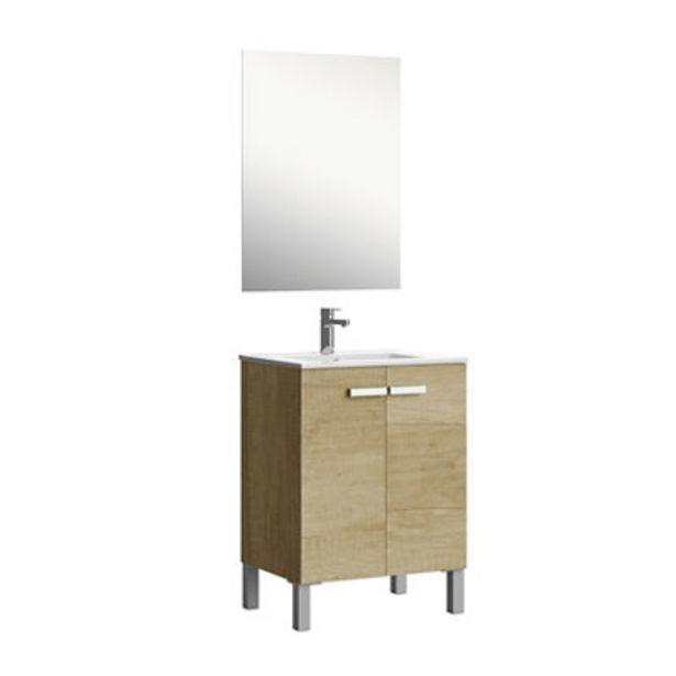 Oferta de Mueble de baño con lavabo y espejo Duo roble claro 60x45 cm por 180,3€