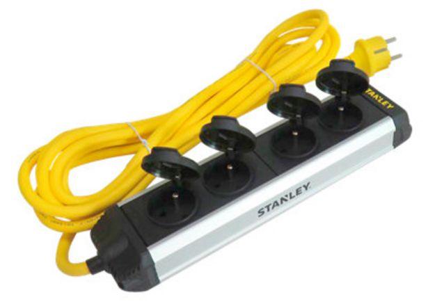 Oferta de Base múltiple 4 tomas STANLEY IP44, 2 mts. Aluminio por 26€