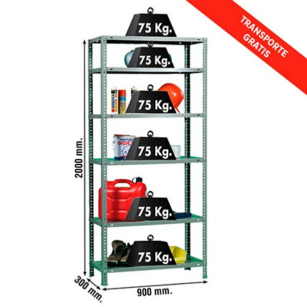 Oferta de Estantería metálica en kit de 30X90 cm y carga max 75 kg por balda por 59€