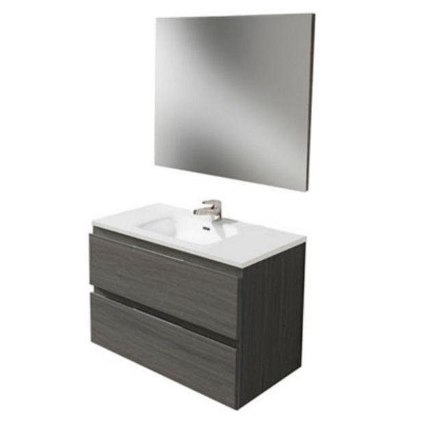 Oferta de Mueble de baño con lavabo y espejo Prima roble ceniza 80x45 cm por 175€