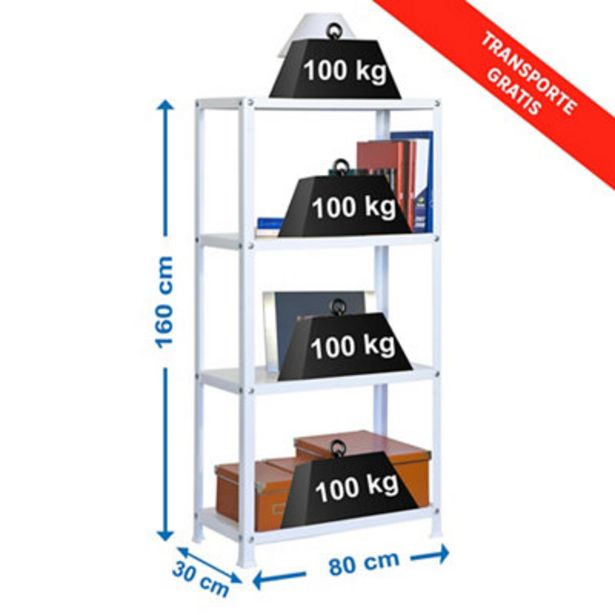 Oferta de Estantería metálica en kit 80 x 160 x 30 cm y carga max 100 kg por balda por 51,5€