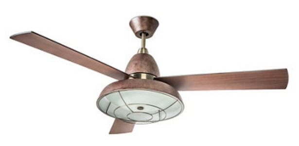 Oferta de Ventilador de techo con luz Vintage marrón 132 cm motor AC por 148,2€