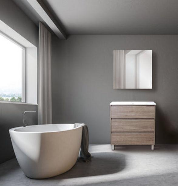 Oferta de Mueble de baño con lavabo y espejo Guano roble natural 80x45 cm por 217,6€
